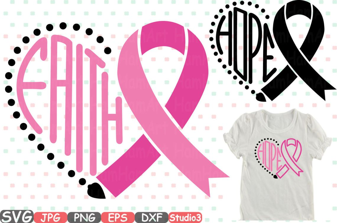 Download Breast Cancer Ribbon Silhouette SVG Cutting Files Digital ...