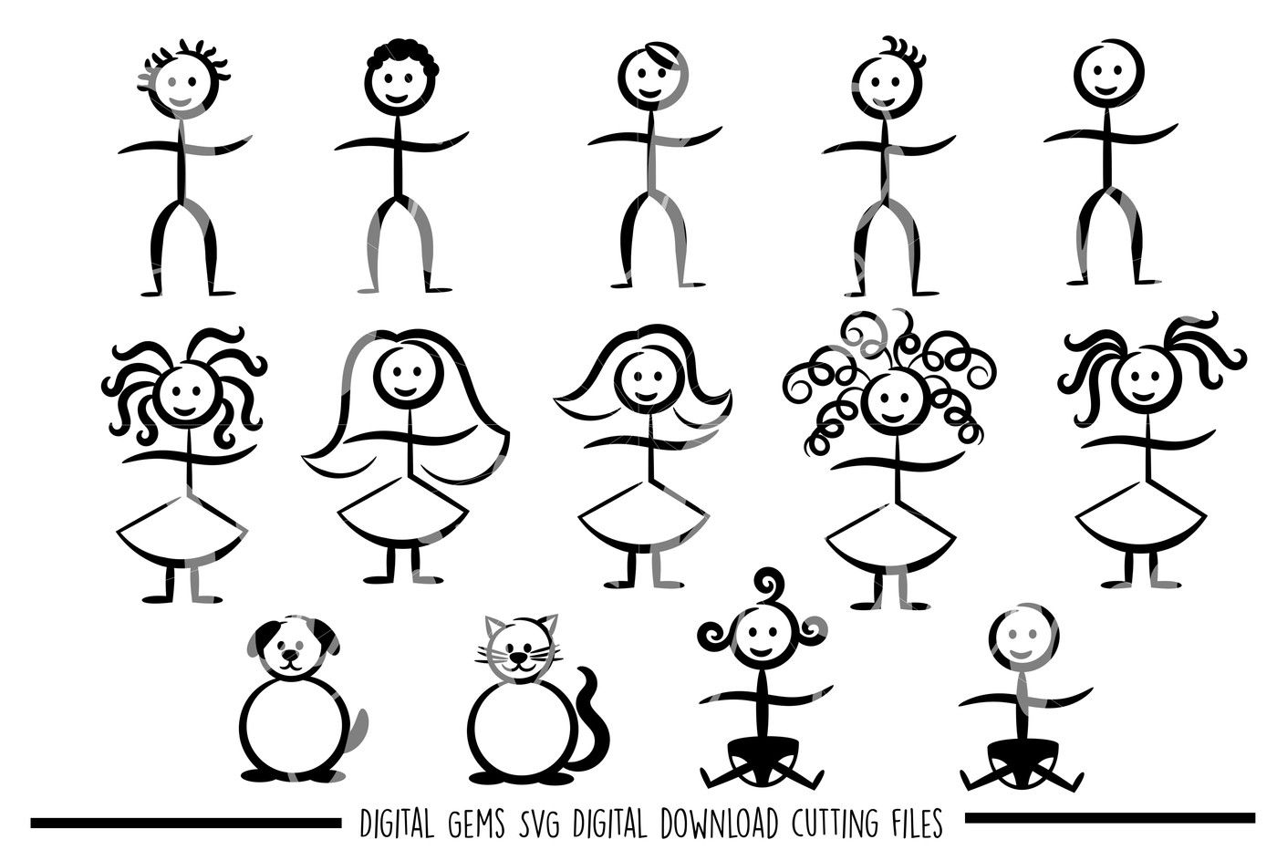Stick Figure SVG / DXF / EPS / PNG Files By Digital Gems
