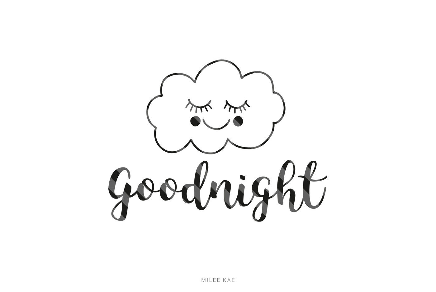 Goodnight, cutting file, SVG, PNG, EPS By MileeKae