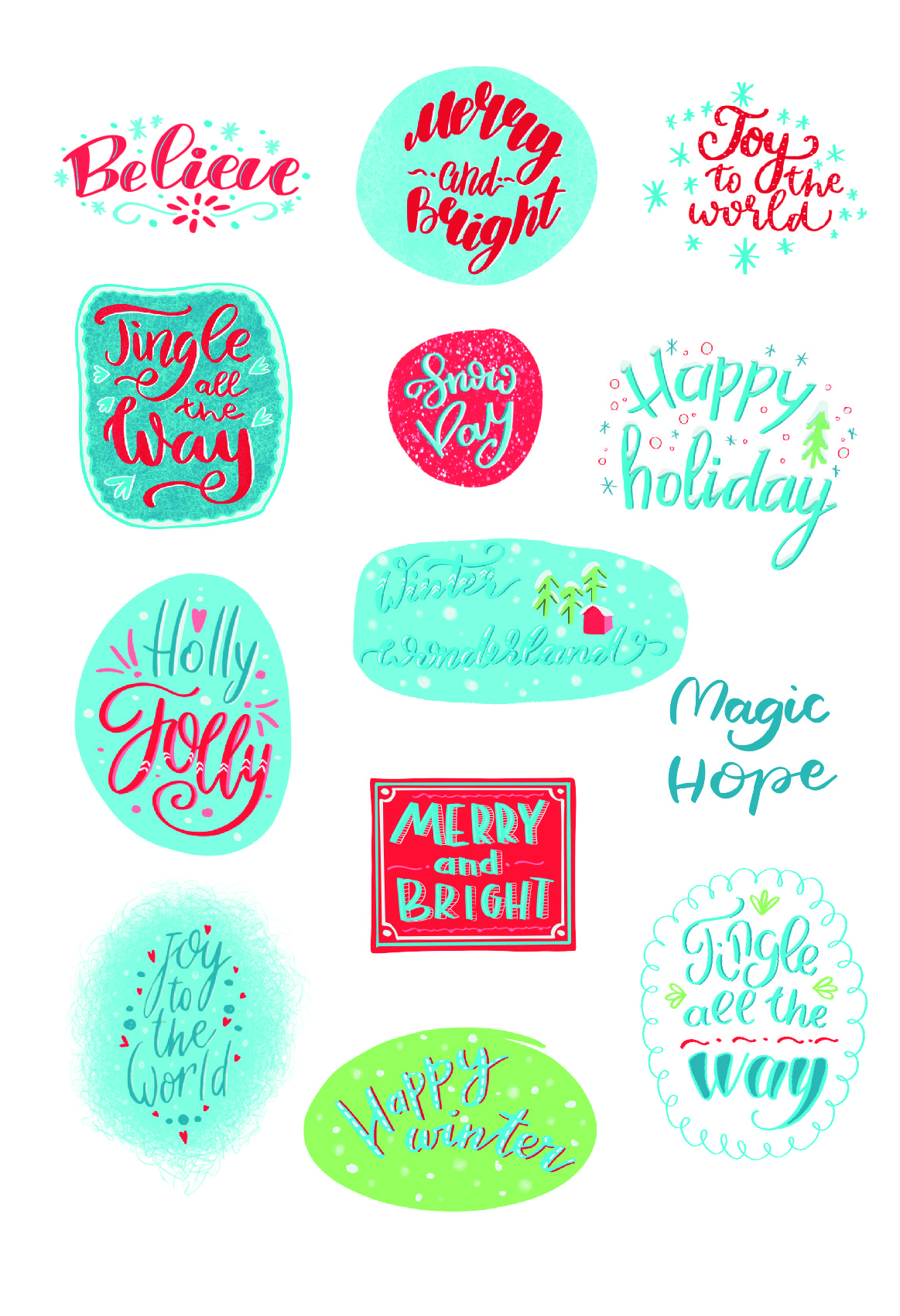 christmas phrases and lettering