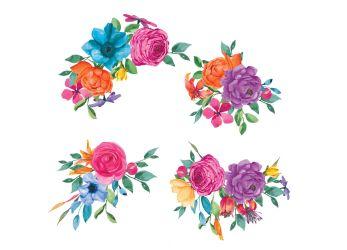 fiesta flowers clip watercolor thehungryjpeg graphics cart