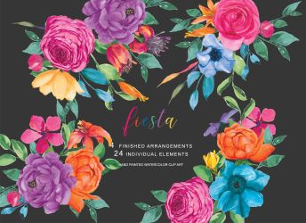 flowers fiesta clip watercolor floral mexican clipart colorful painted hand arrangements thehungryjpeg designer cart follow lg graphics graphic