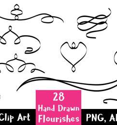 28 hand drawn flourishes flourish clipart wedding clipart  [ 1160 x 772 Pixel ]