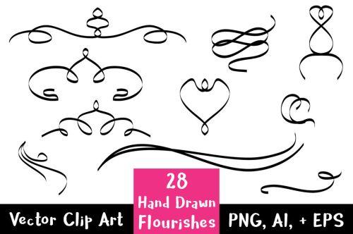 small resolution of 28 hand drawn flourishes flourish clipart wedding clipart