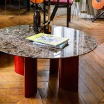 Carlotta Coffee Table Brown Marble Top And Red Legs
