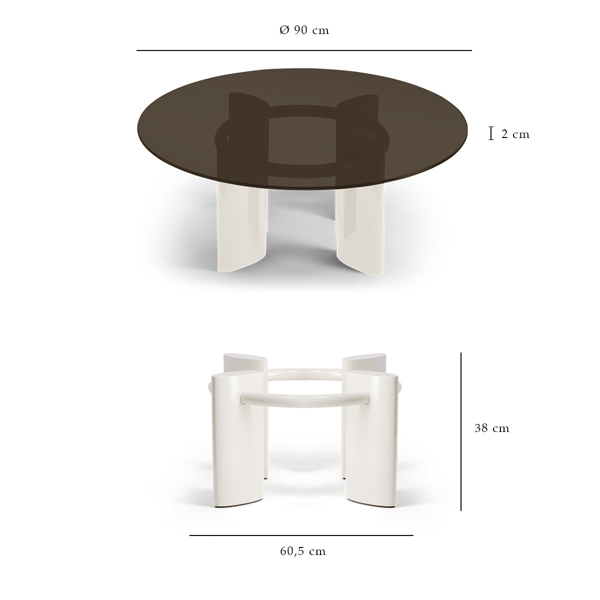 coffee table white cream and glass