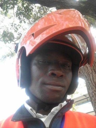 Laban, a motorbike taxi man in Kampala (bodaboda-man). He uses his knowledge.