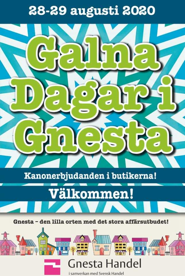 28-29 augusti 2020. Galna dagar i Gnesta. Kanonerbjudanden i butikerna. Välkommen. Gnesta - den lilla orten med det stora affärsutbudet. Gnesta handel i samverkan med Svensk handel.