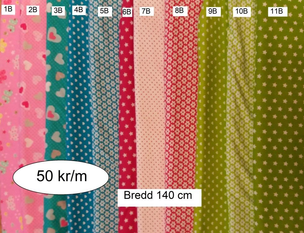 Billiga bomullstyger i flera olika mönster och färger. Bredd 140 cm. Pris 50 kr/m.