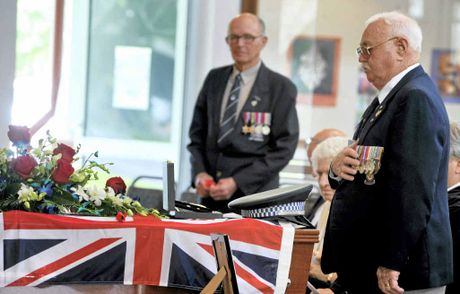 Returned servicemen placed poppies on the coffin at the funeral of Keith Henry Barry OAM at St Mary's Anglican Church Ballina.