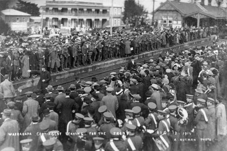 EMBARKATION: The scene at Masterton Railway Station on August 13, 1914, as the first Wairarapa volunteers left for training prior to going to war.PHOTO/SUPPLIED