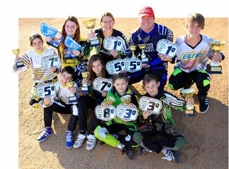 BMX WINNERS: Back (from left) Taylah Browning, Jessica Baker, Tina Black, Gary Zahl and Jack Terry. Front, Harrison Browning, Laura Black, Alyssa Cherrie and Tara Wieden.