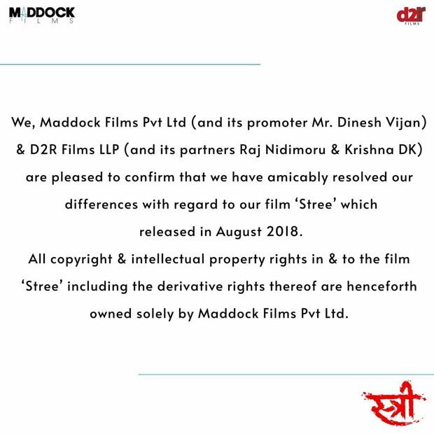 मैडॉक फिल्म्स और D2R फिल्म्स ने फिल्म स्ट्री पर अपने विवाद को सुलझाया