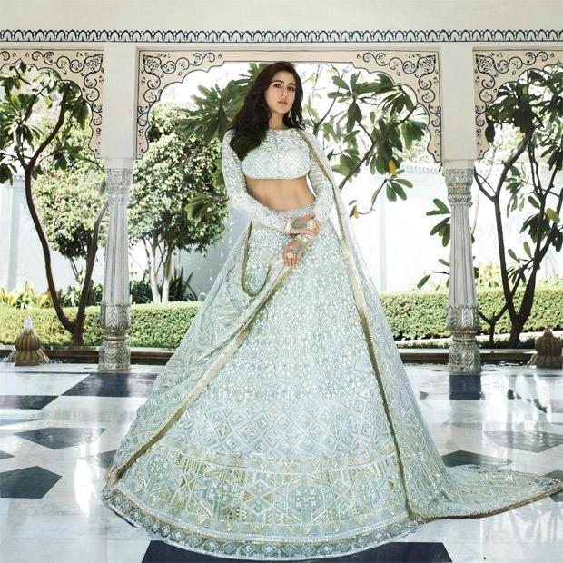 Sara Ali Khan embodies unmatchable elegance in icy mint backless blouse and lehenga from Manish Malhotra's Nooraniyat collection