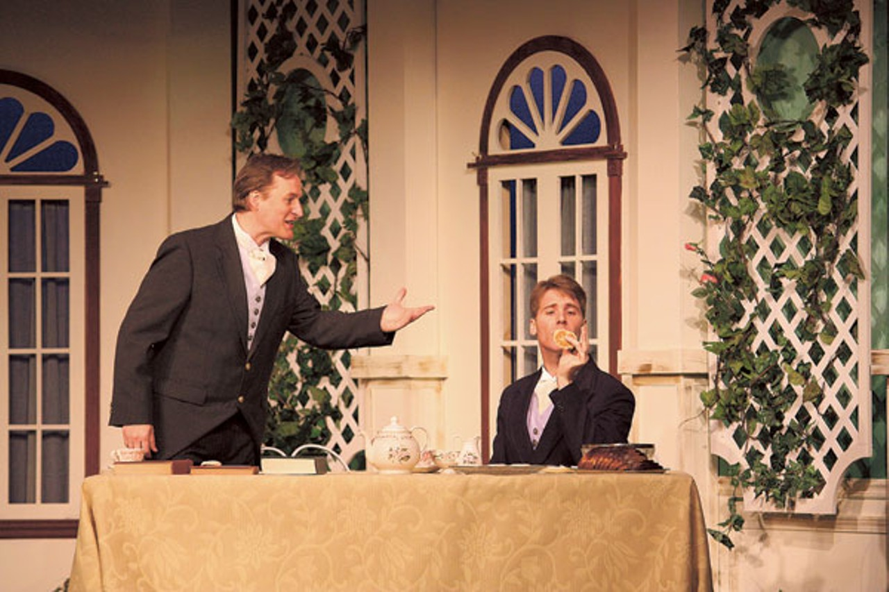 Jon Ecklund (John Worthing) and Lance Beilstein (Algernon Moncrieff) in The Importance of Being Earnest.