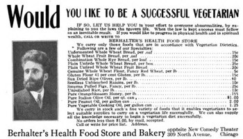 An ad in Chicago-based Vegetarian Magazine, 1907.