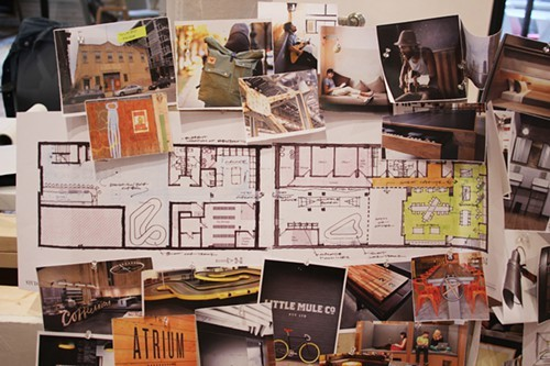 Conceptual presentation board for a student housing project.