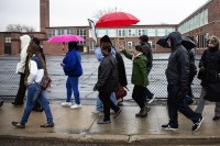 Concerned King Elementary School parents and supporters walk from King Elementary to Jensen Elementary, highlighting potentially dangerous areas and streets children may encounter on their walk to school.