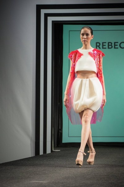 Design by Rebecca Blanton, my favorite: wearable, minimal, feminine, fun and fashion-forward. She came in third place.