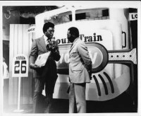 Don Cornelius (left) interviews Curtis Mayfield on the Chicago set of Soul Train.