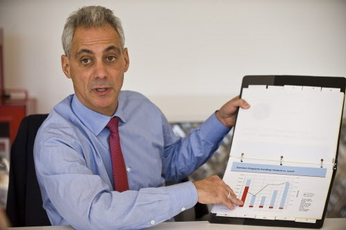 In this image from October 2013, Mayor Rahm Emanuel speaks about the 2014 budget with the Sun-Times editorial board. Did he mention that he would increase the scope of his South Loop DePaul/Marriott boondoggle?