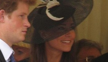 Kate Middleton and Prince Harry at a ceremony for Prince William in 2008