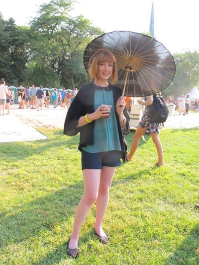 Maeve. Came to see: Giorgio Moroder. Why this outfit? I brought a parasol because I have a very fair skin.