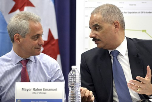 Mayor Rahm Emanuel recruited U.S. Attorney General Eric Holder to hail a drop in crime in Chicago--and then dozens were shot over the weekend.