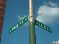 On Flickr this is captioned Two of the three street names in Chicago that rhyme with vagina
