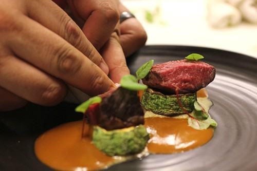 Plating venison, one of the few meats Mexico had before 1492.