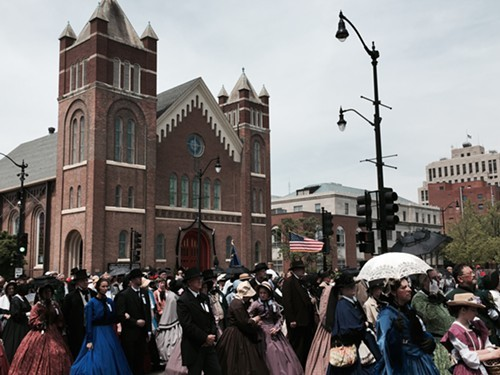 Reenactors in period garb gathered in Springfield for the 150th anniversary of Lincolns funeral.