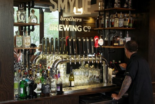 The upstairs bar, with six Smylie Brothers handles and two guest taps