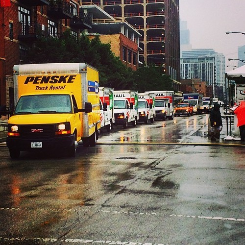 Trucks lining up during setup for the Guerrilla Truck Show