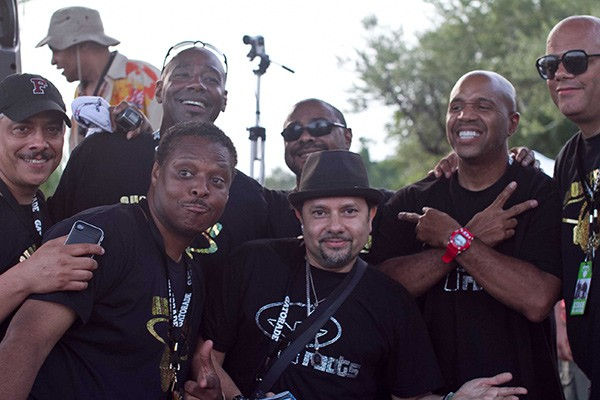 "Top row, left to right: Alan King, Tony Hatchett, Andre Hatchett, guest DJ Kevin Hedge, and Wayne Williams. Bottom row: Jessie Saunders and guest DJ ""Little"" Louie Vega. Dawn Colquitt-Anderson"