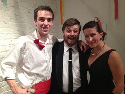 Walt Delaney, Alex Honnet, and Caitlin Stephans, the founders of the Upstairs Gallery
