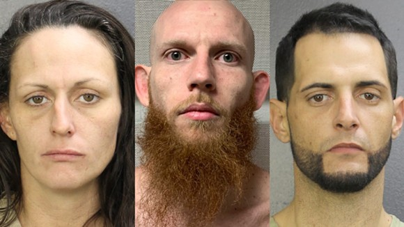 From left: Natalie Rebecca Williams, Joshua Aaron Greiff and Andres Rafael - PHOTOS VIA BROWARD COUNTY JAIL AND DAVIE POLICE Department