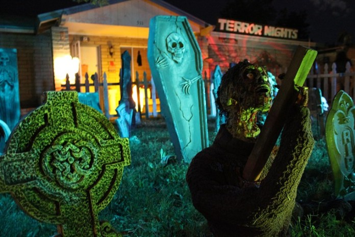 The scene outside of Terror Nights Haunted House in Tempe. - DARLENE EVANS STOUDT
