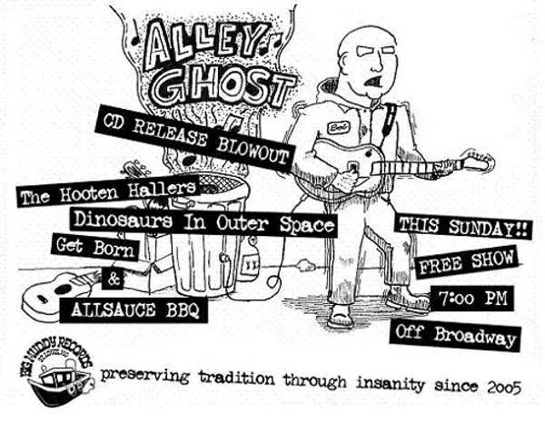 Show Flyer: Bob Reuter's Alley Ghost CD Release Show at
