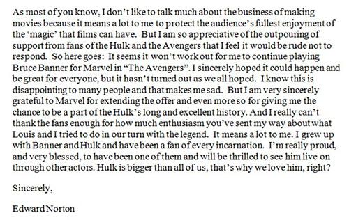 Ed Norton Hulk Note
