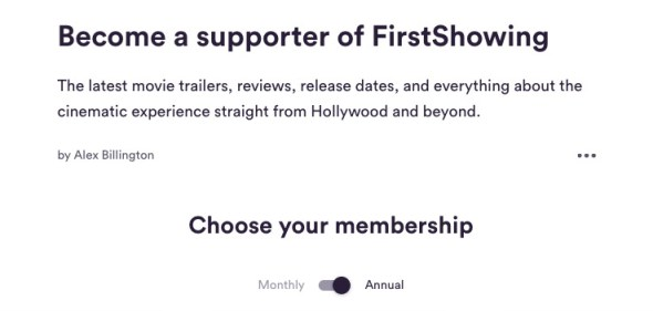 Become a supporter of FirstShowing