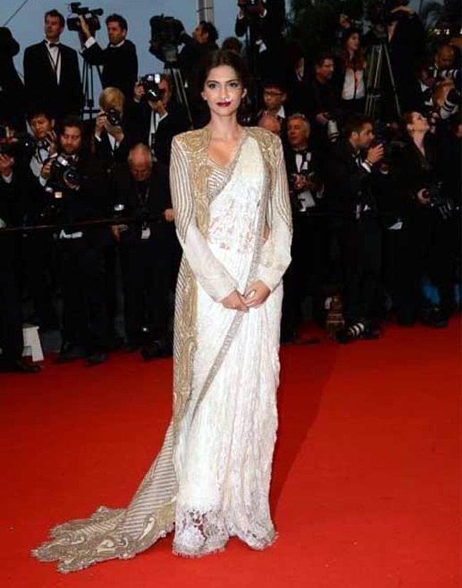 Sonam Kapoor Saree Cannes Red Carpet