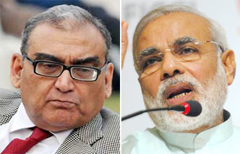 (Left) Markandey Katju and Narendra Modi