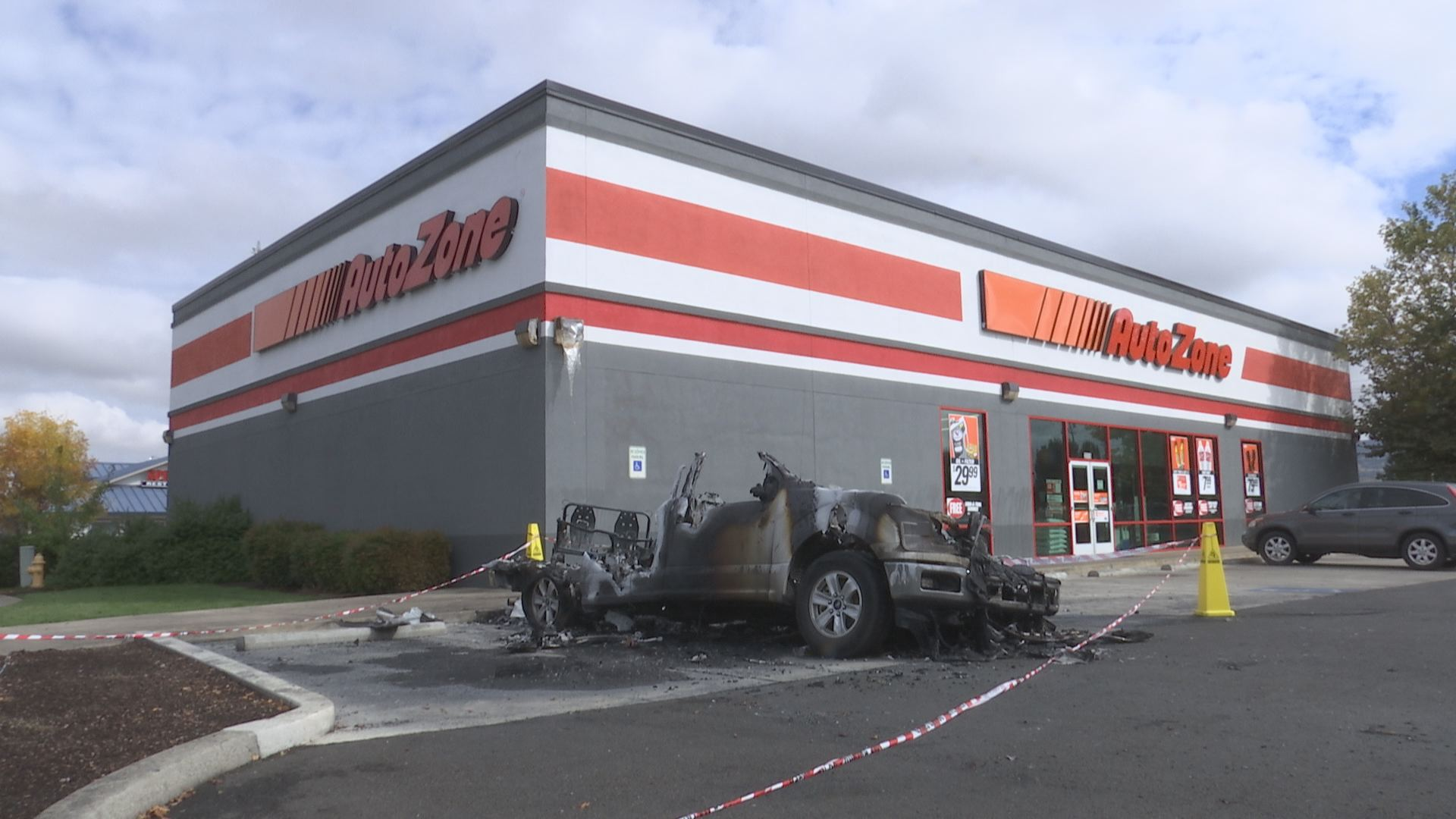 hight resolution of  update fire investigators are looking into a car fire in front of an autozone in northeast medford