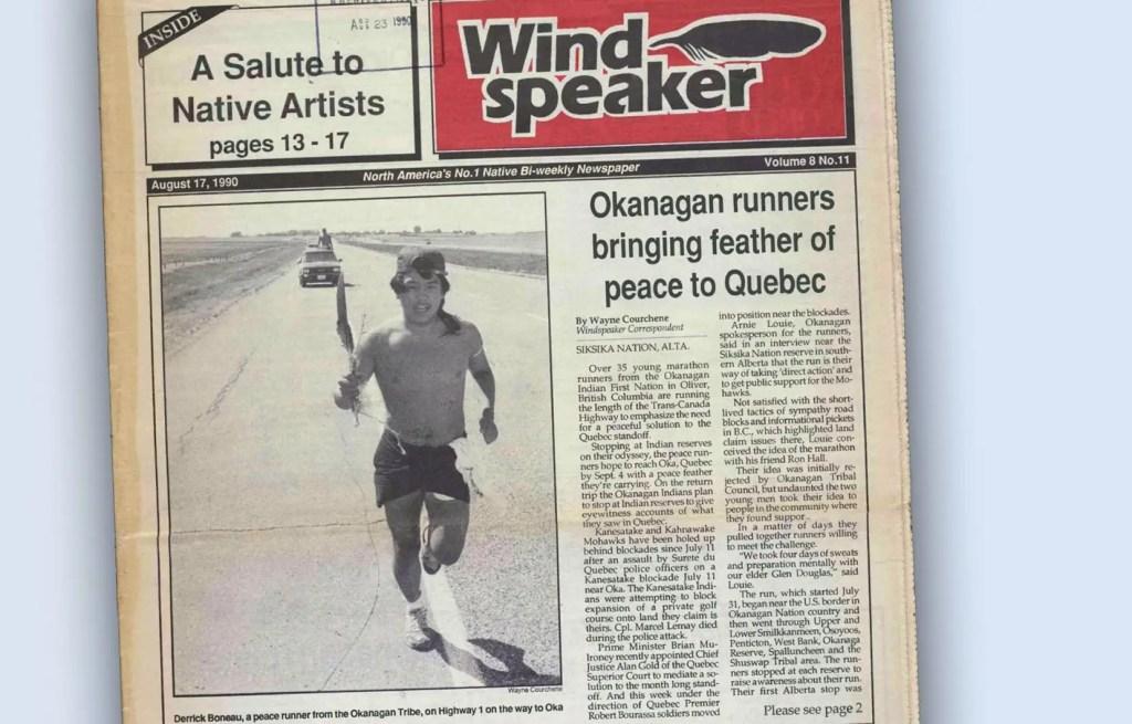 À l'été 1990, des dizaines de jeunes Autochtones de l'Okanagan ont couru à travers le pays en soutien aux Mohawks du Québec. Une épopée qui leur a servi de cure et d'éveil au racisme.