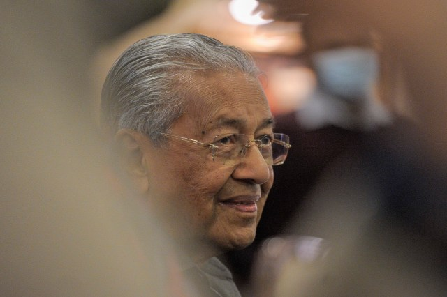In an interview with Bernama TV tonight, Pejuang chairman Tun Dr Mahathir Mohamad said his party was not bound to any other and that he would work with the Port Dickson MP, with whom he shares a strained political relationship. — Picture by Shafwan Zaidon