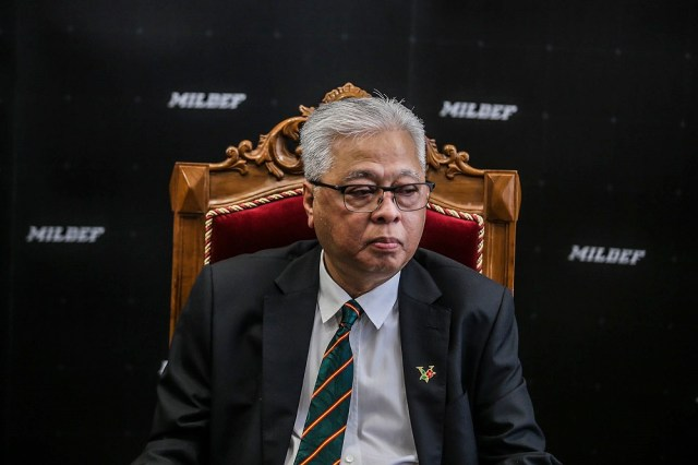 Senior Minister Datuk Seri Ismail Sabri Yaakob speaks to reporters after the naming ceremony of Malaysia's first locally produced High Mobility Armoured Vehicle in Kuala Lumpur April 2, 2021. ― Picture by Hari Anggara