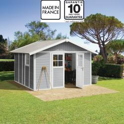 abri de jardin en pvc 11 2m deco gris clair et blanc grosfillex kit ancrage offert