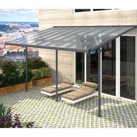 pergola adossee ajustable toit de terrasse en alu 3 05x5 57m x metal