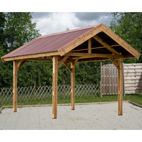carport thurac 17 89m en bois massif avec toiture onduline habrita