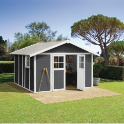 abri de jardin en pvc 11 2m deco gris fonce et blanc grosfillex kit ancrage offert
